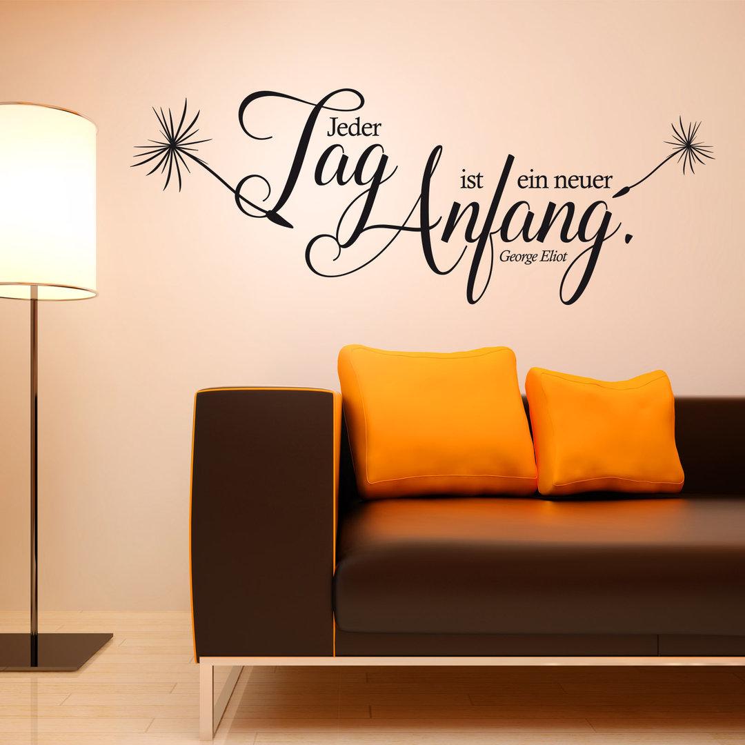 wandtattoo jeder tag ist ein neuer anfang zitat spruch. Black Bedroom Furniture Sets. Home Design Ideas