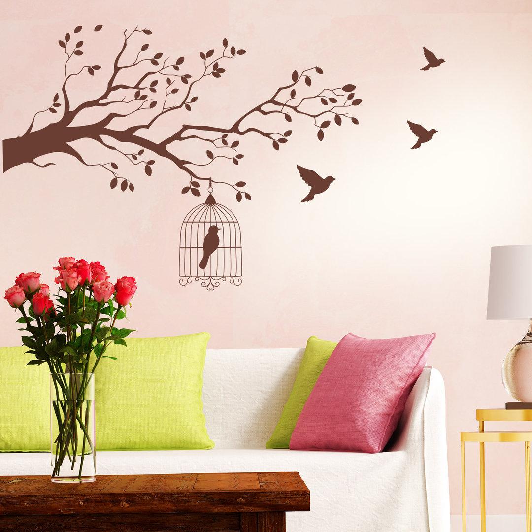 wandtattoo vogelk fig im baum mit sten v geln bl ttern. Black Bedroom Furniture Sets. Home Design Ideas