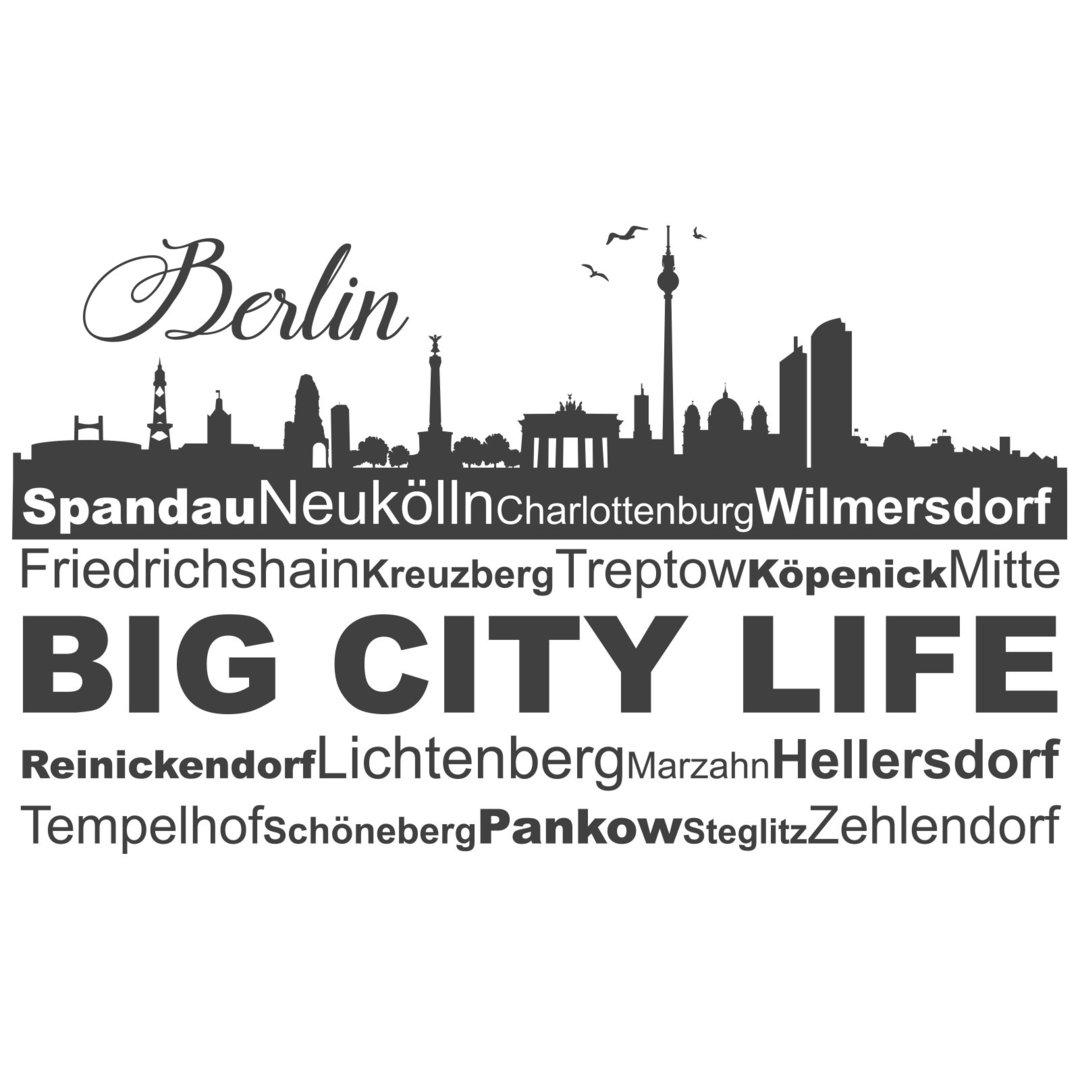 Wundervoll Wandtattoo Berlin Sammlung Von Skyline Mit Bezirken