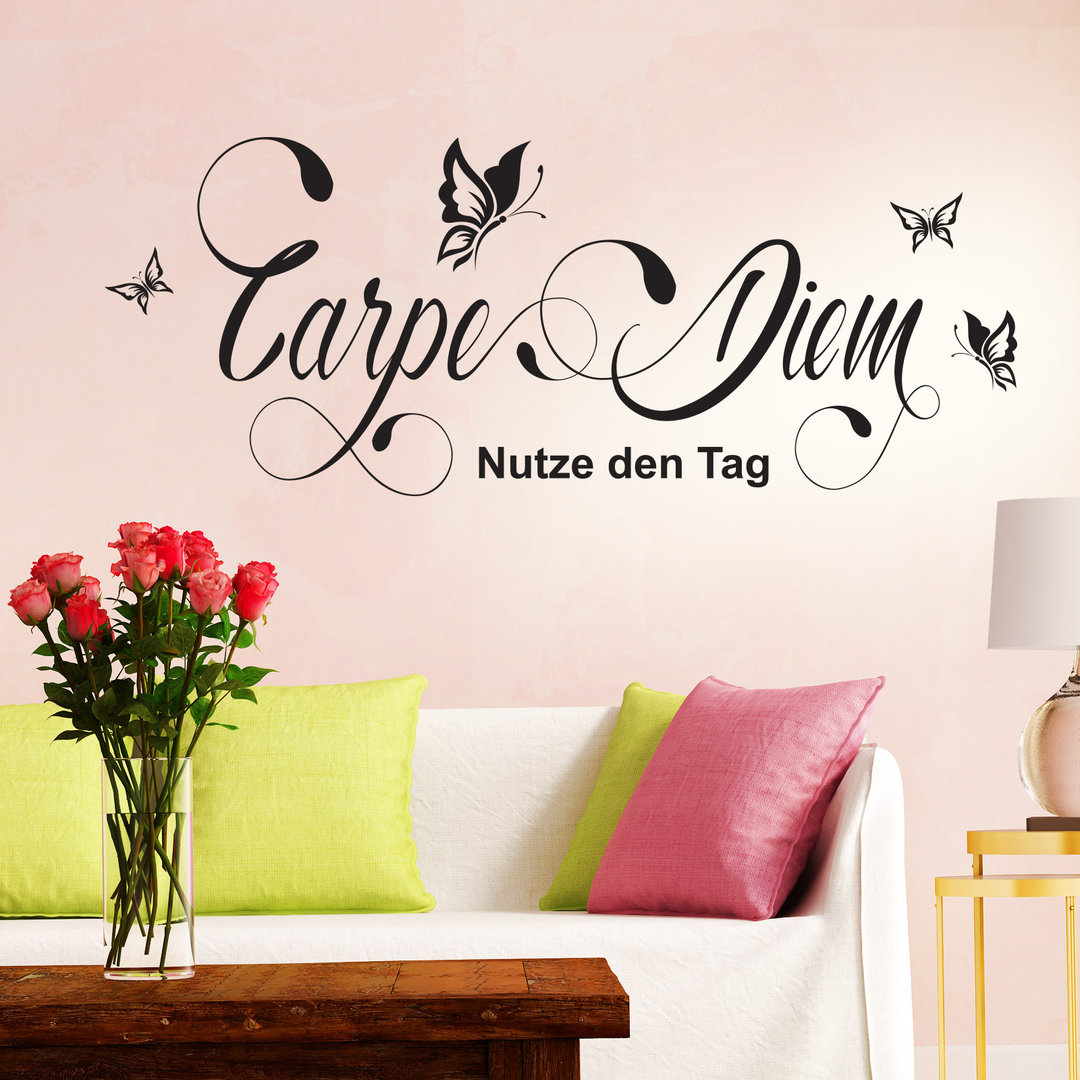 wandtattoo carpe diem nutze den tag mit schmetterlingen. Black Bedroom Furniture Sets. Home Design Ideas