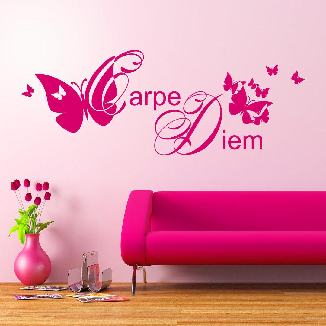 wandtattoo carpe diem nutze den tag mit schmetterlingen. Black Bedroom Furniture Sets. Home Design Ideas