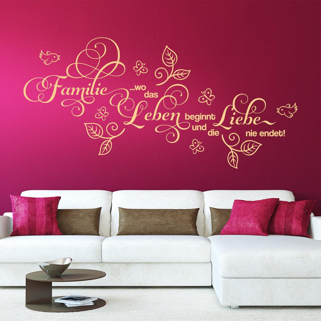 wandtattoo familie wo das leben beginnt und die liebe niemals. Black Bedroom Furniture Sets. Home Design Ideas