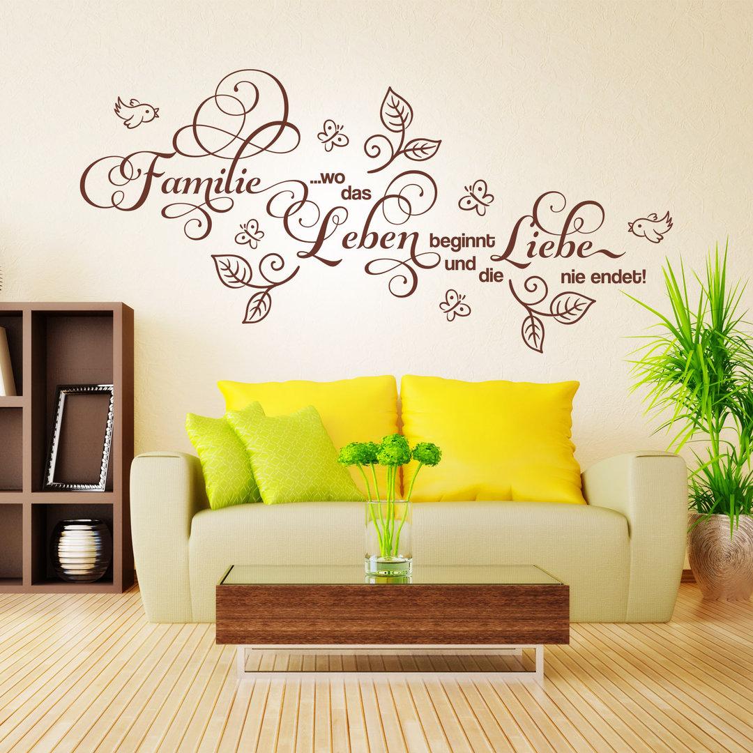 wandtattoo familie wo das leben beginnt und die liebe. Black Bedroom Furniture Sets. Home Design Ideas