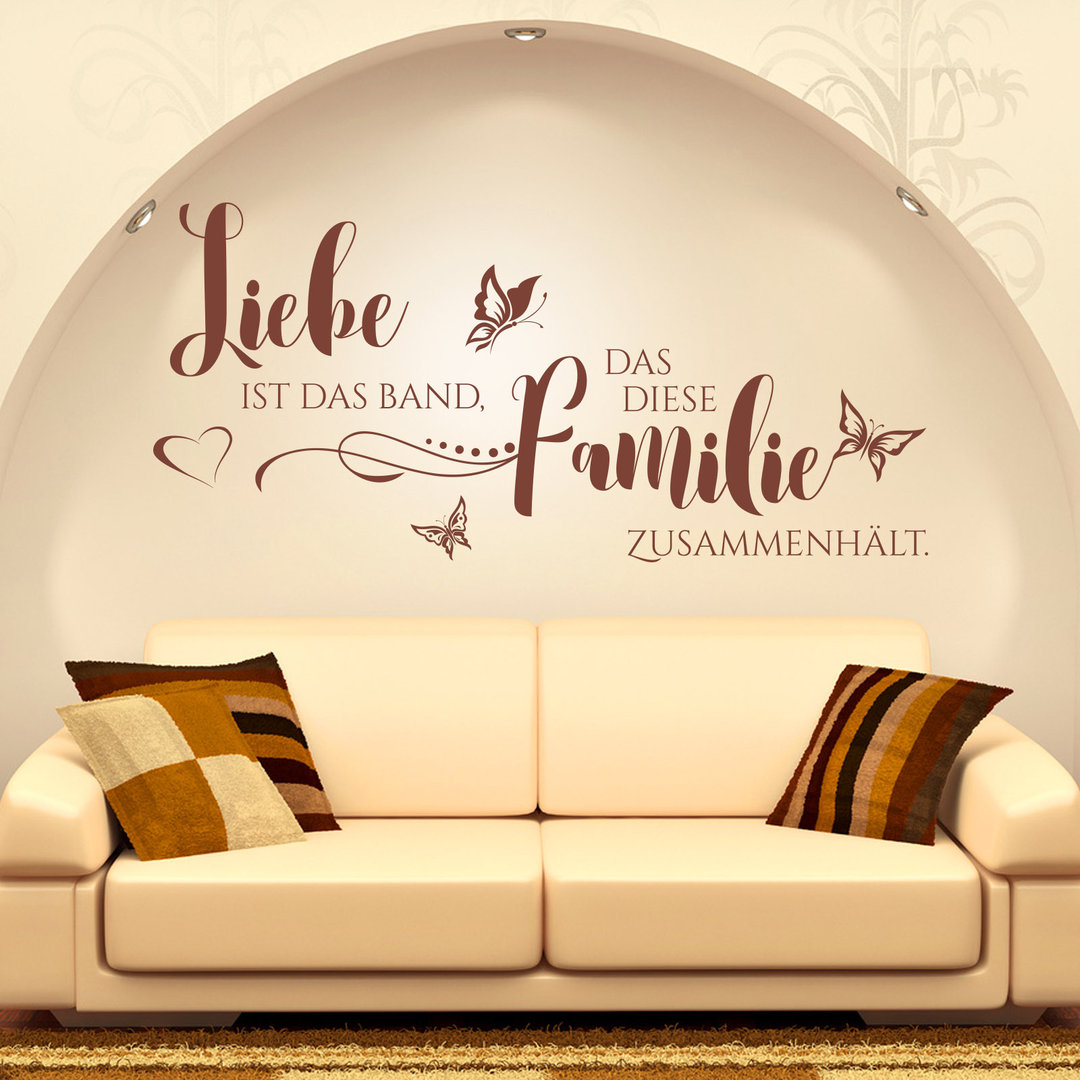 wandtattoo liebe ist das band das diese familie zusammenh lt. Black Bedroom Furniture Sets. Home Design Ideas