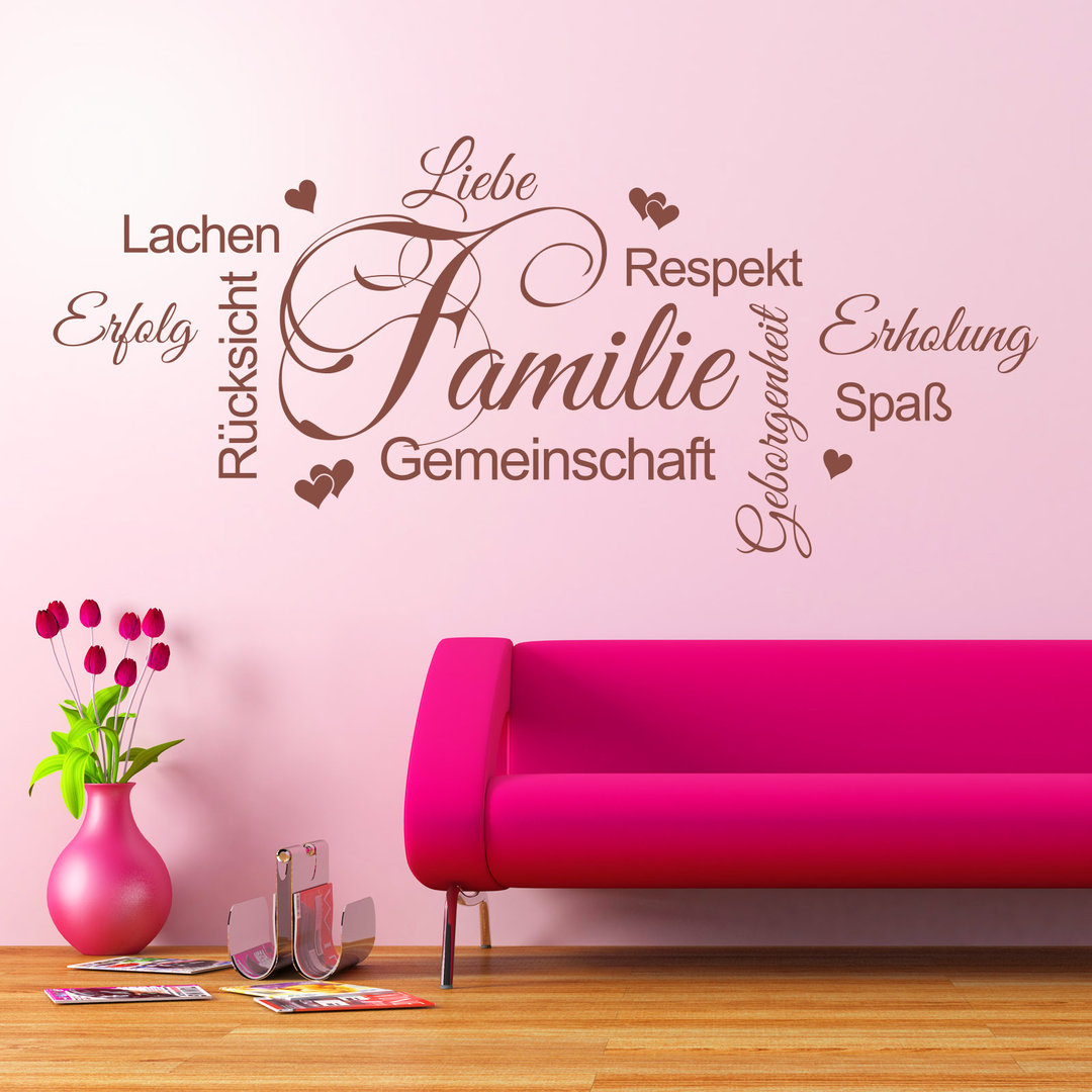 wandtattoo wortwolke familie liebe lachen wohnzimmer deko. Black Bedroom Furniture Sets. Home Design Ideas
