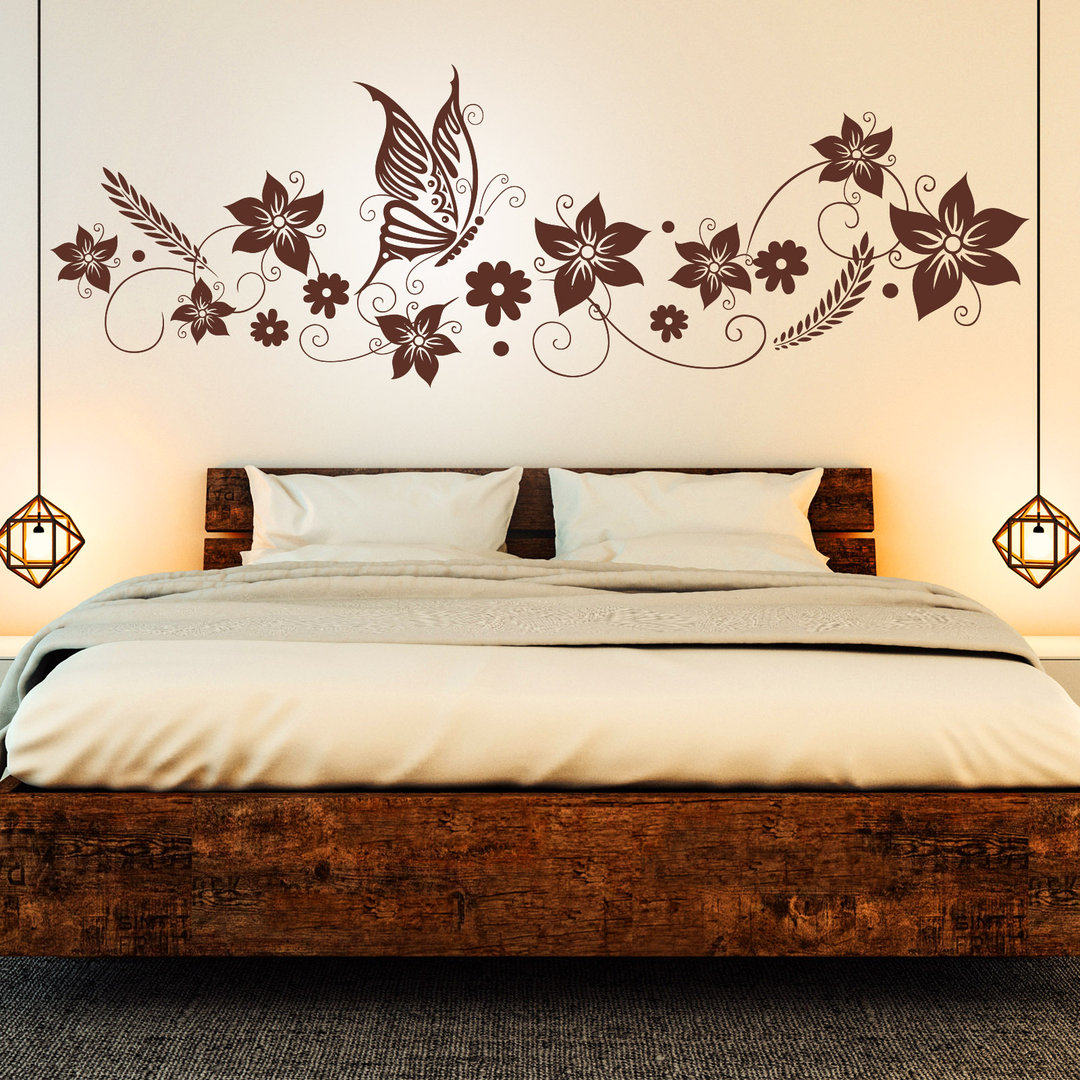 wandtattoo blumen ranke mit schmetterling deko f r. Black Bedroom Furniture Sets. Home Design Ideas