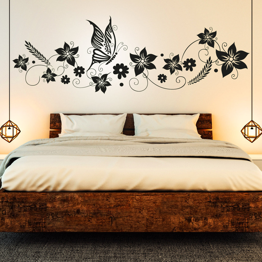 wandtattoo blumen ranke mit schmetterling deko f r schlafzimmer. Black Bedroom Furniture Sets. Home Design Ideas