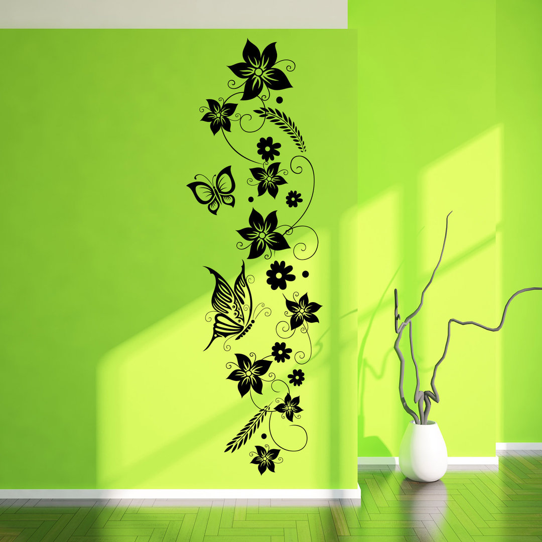 wandtattoo blumen ranke wandbild im hochformat f r flur diele. Black Bedroom Furniture Sets. Home Design Ideas