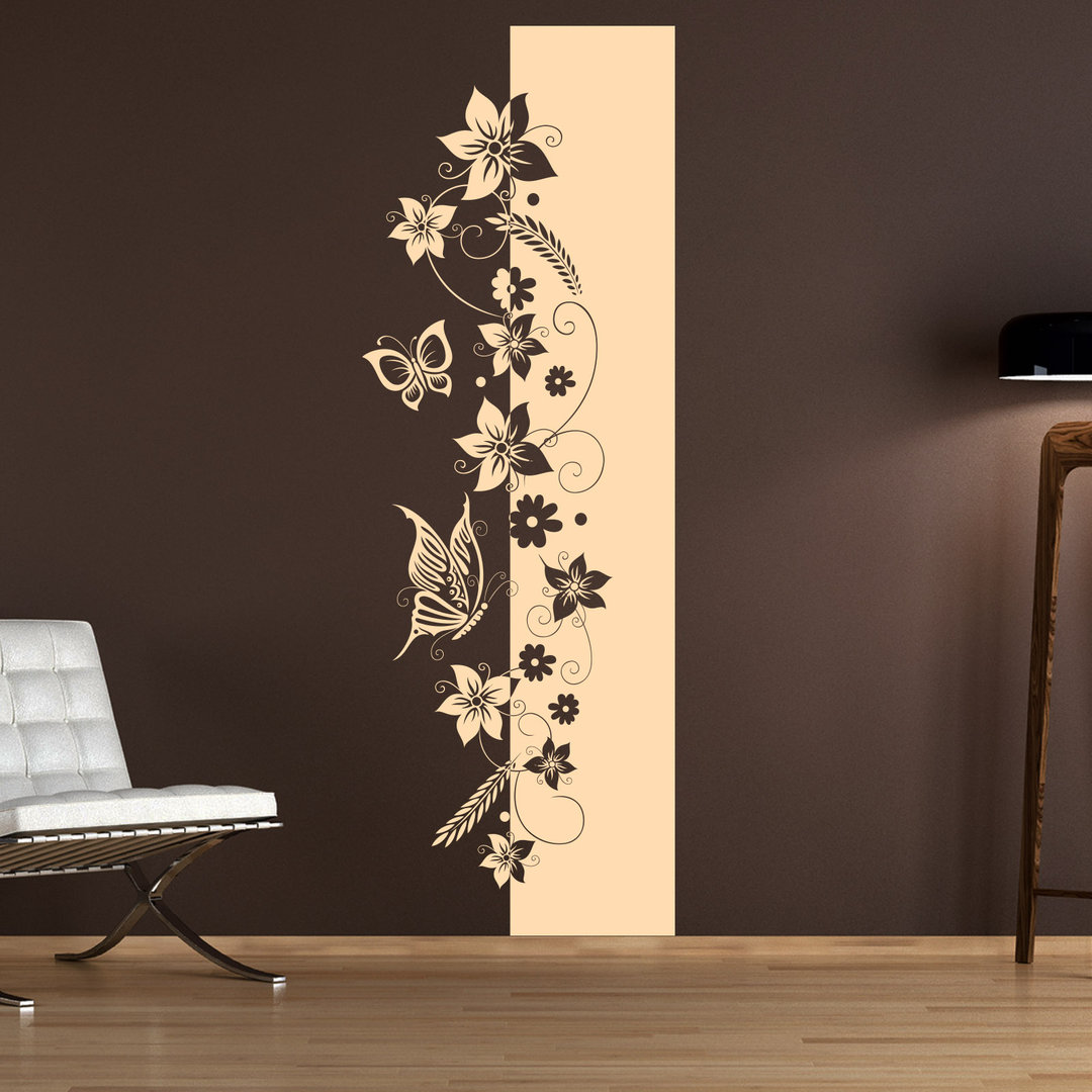 wandtattoo blumen ranke florales banner design hochgestellt. Black Bedroom Furniture Sets. Home Design Ideas