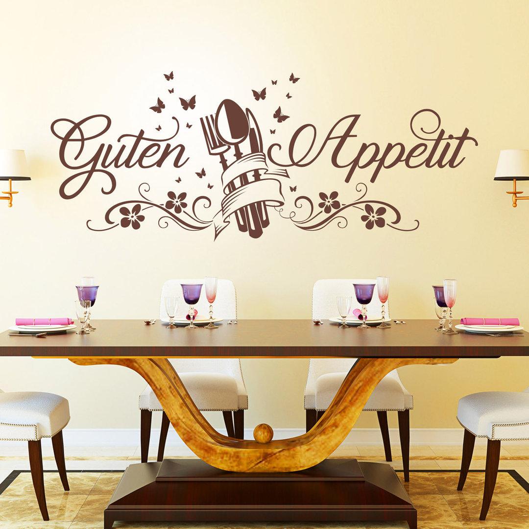 wandtattoo guten appetit mit schmetterlingen und blumen f r k che. Black Bedroom Furniture Sets. Home Design Ideas