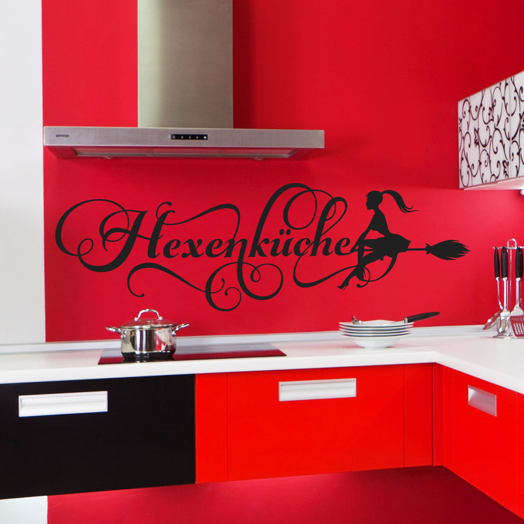 wandtattoo hexenk che fliegende hexe mit besen bild f r. Black Bedroom Furniture Sets. Home Design Ideas