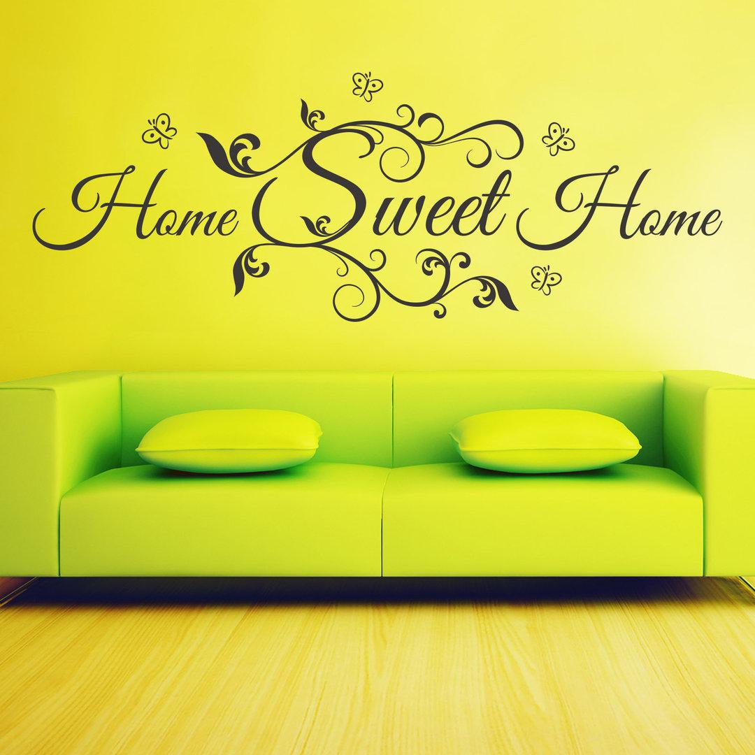 Wandtattoo home sweet home mit blumen verschn rkeltes design - Wandtattoo home ...