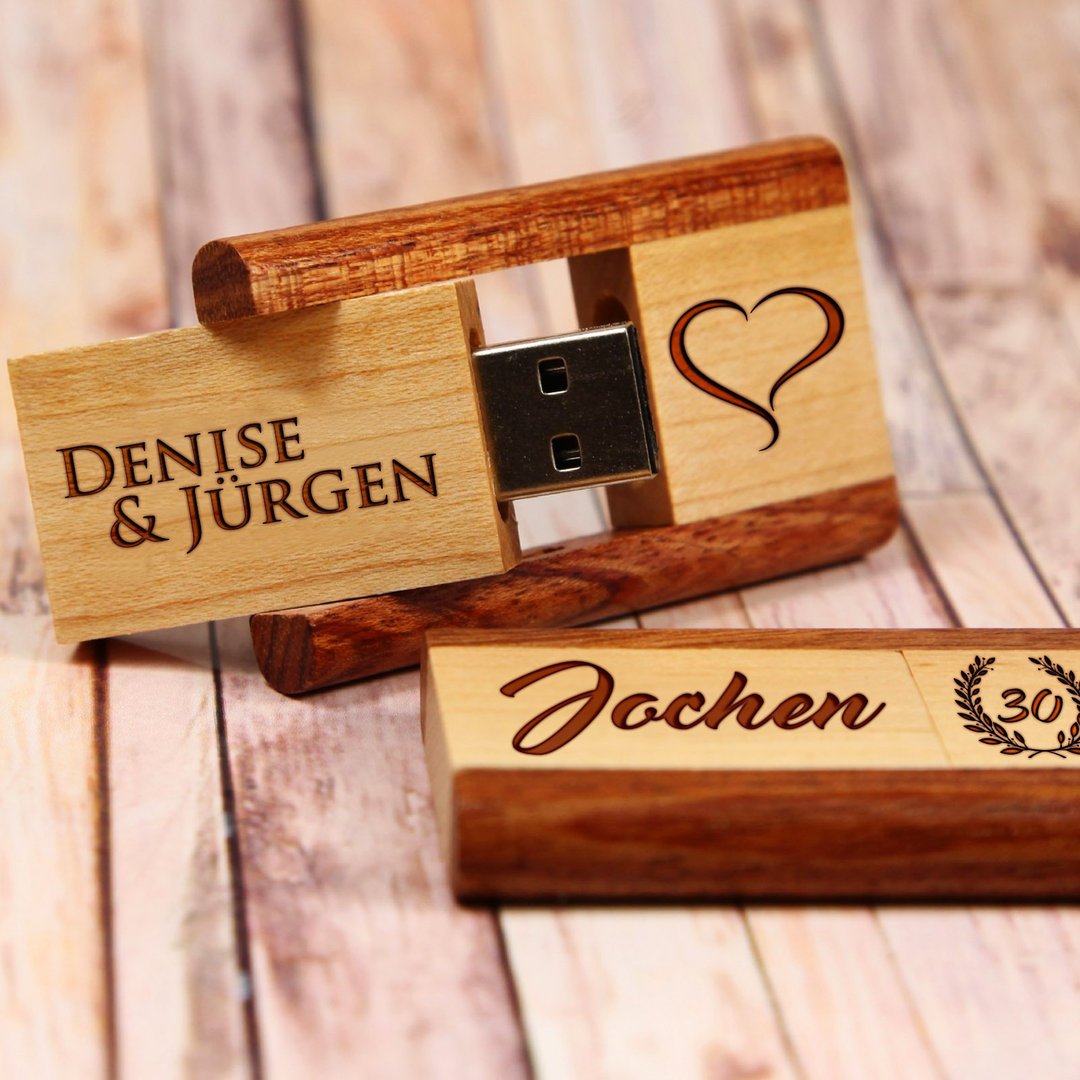 usb stick aus holz mit pers nlicher gravur super geschenk. Black Bedroom Furniture Sets. Home Design Ideas