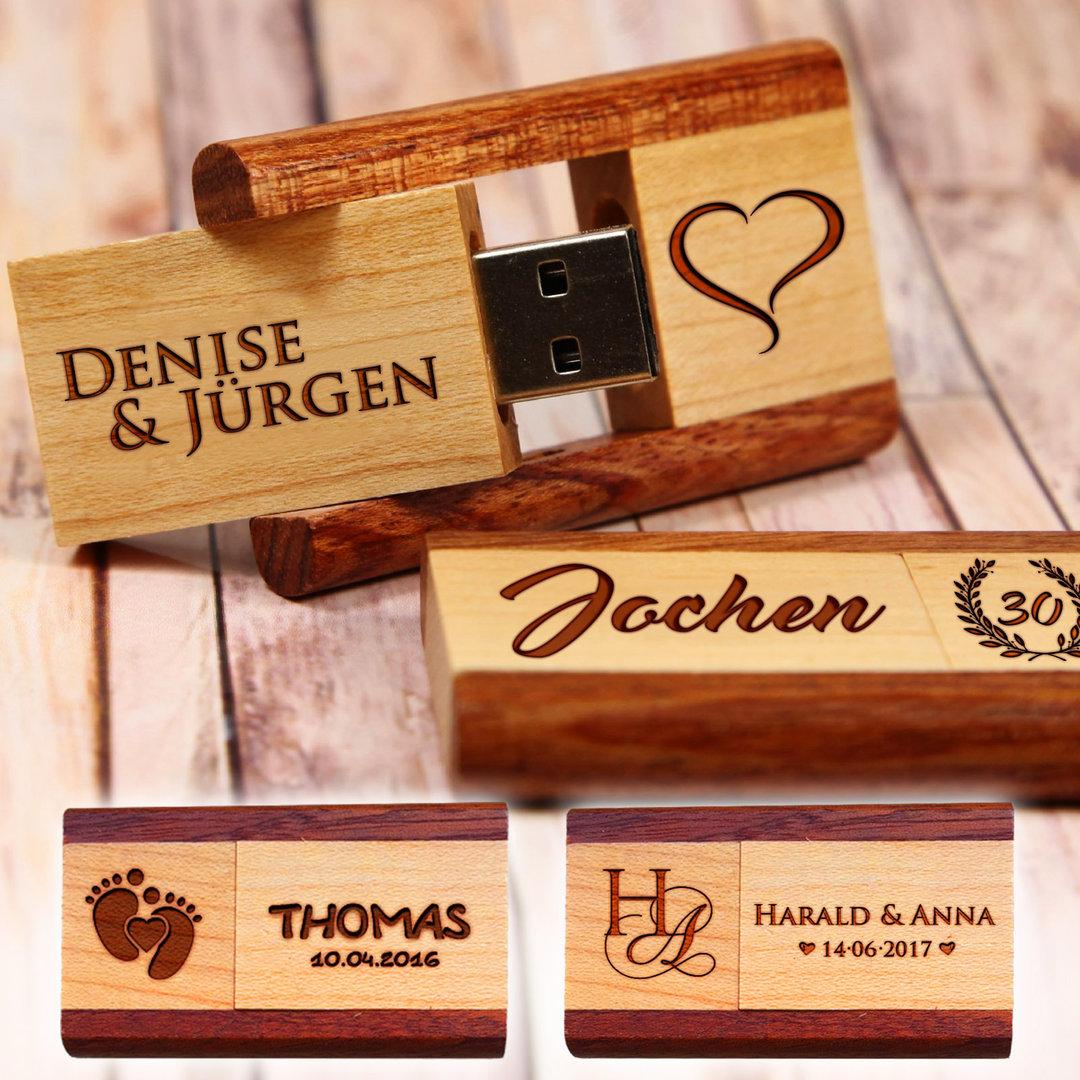 USB-Stick aus Holz mit persönlicher Gravur