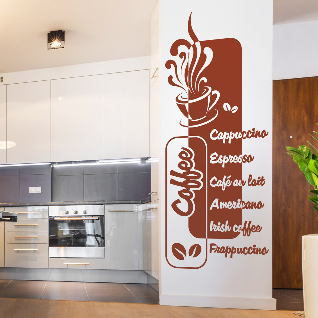 wandtattoo kaffeearten banner cappuccino und espresso k che. Black Bedroom Furniture Sets. Home Design Ideas