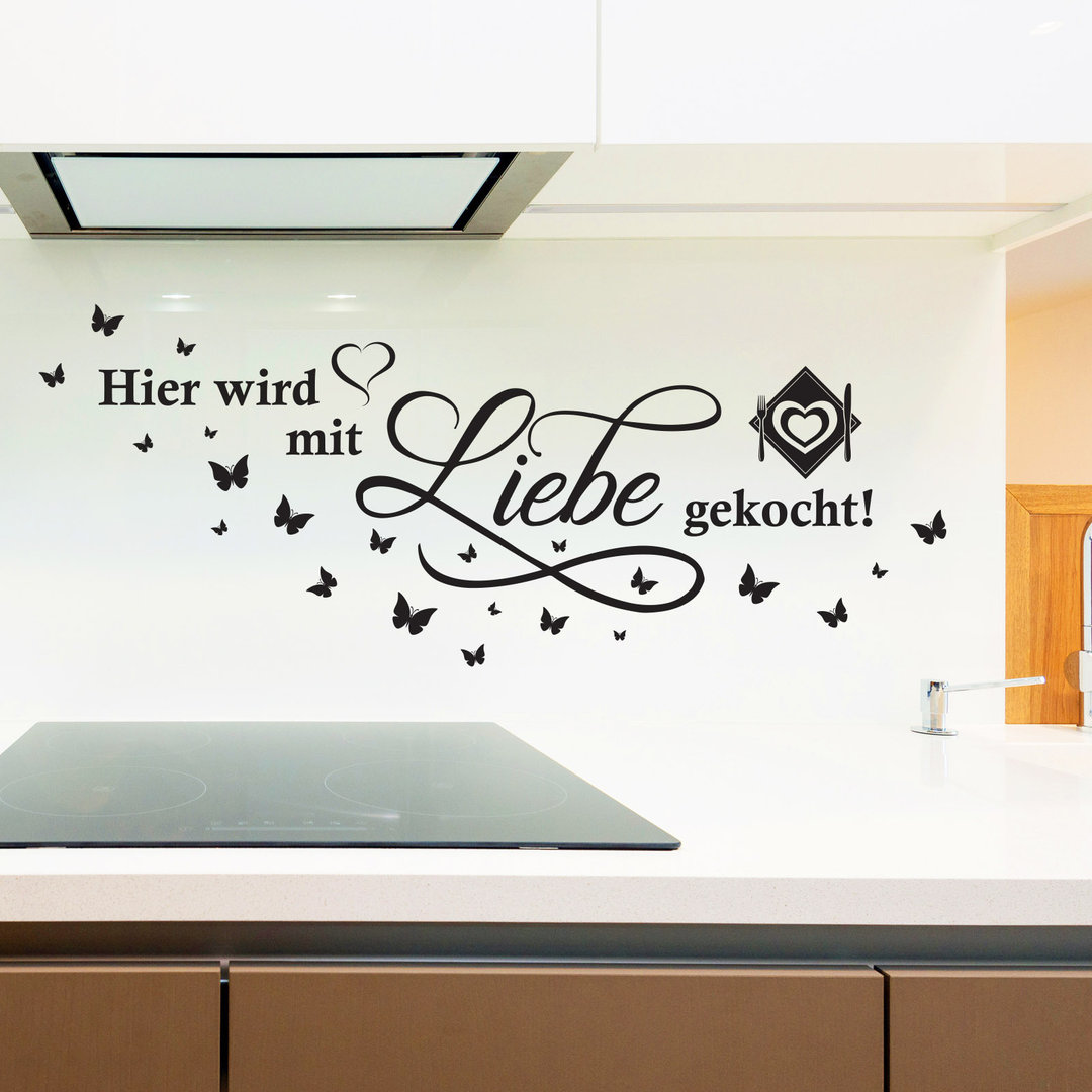 wandtattoo hier wird mit liebe gekocht spruch zitat f r k che. Black Bedroom Furniture Sets. Home Design Ideas