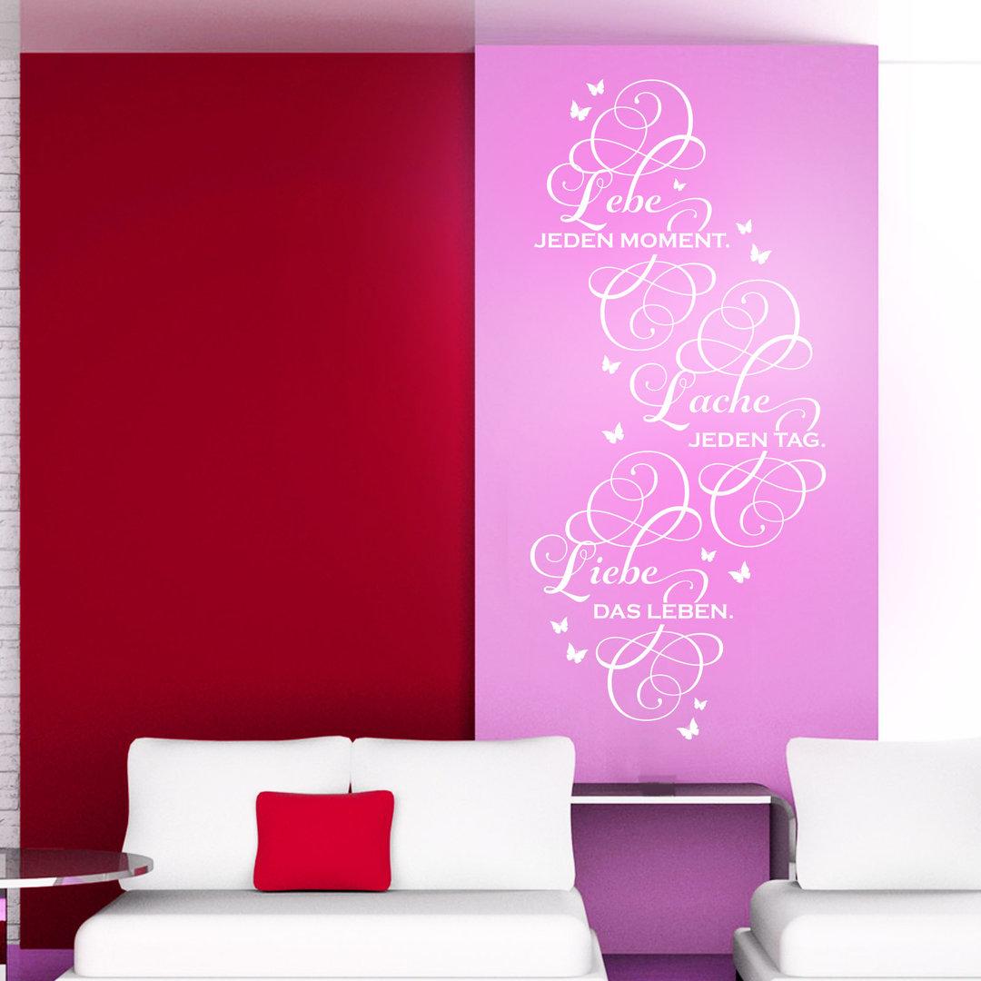 wandtattoo lebe lache liebe spruch zitat f r wohnzimmer. Black Bedroom Furniture Sets. Home Design Ideas