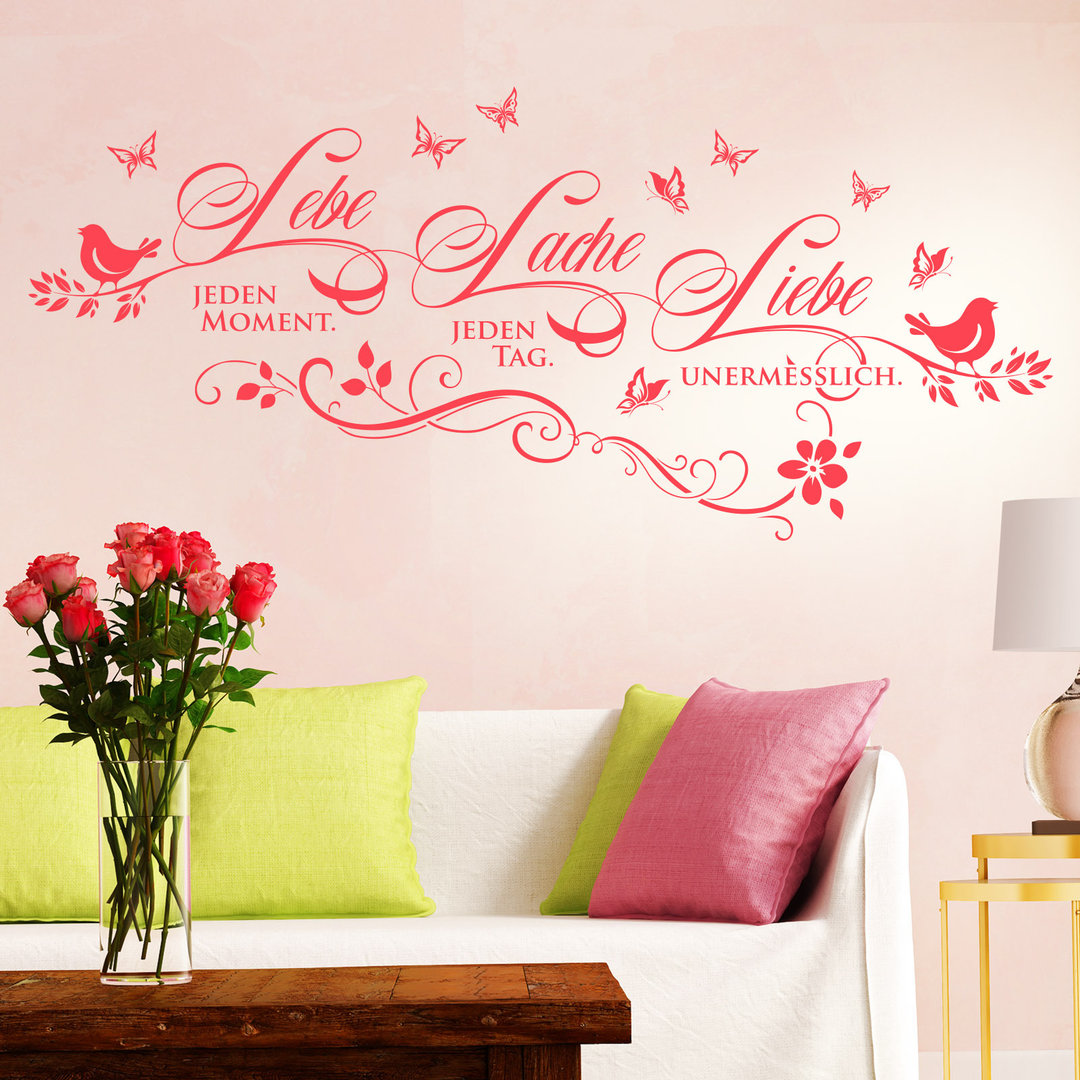 wandtattoo lebe lache liebe deko idee spruch f r wohnzimmer. Black Bedroom Furniture Sets. Home Design Ideas