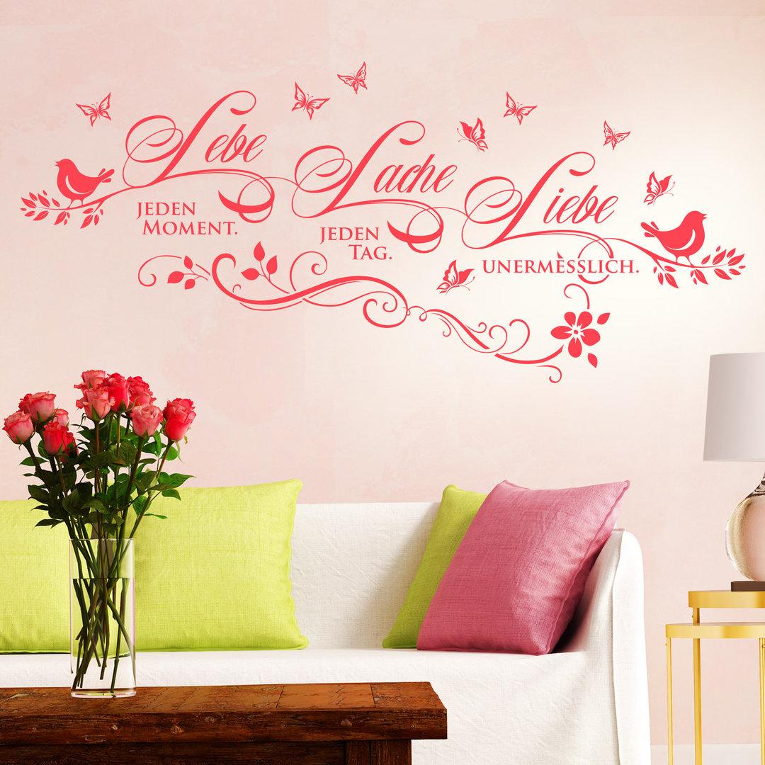 wandtattoo lebe lache liebe deko idee spruch f r. Black Bedroom Furniture Sets. Home Design Ideas