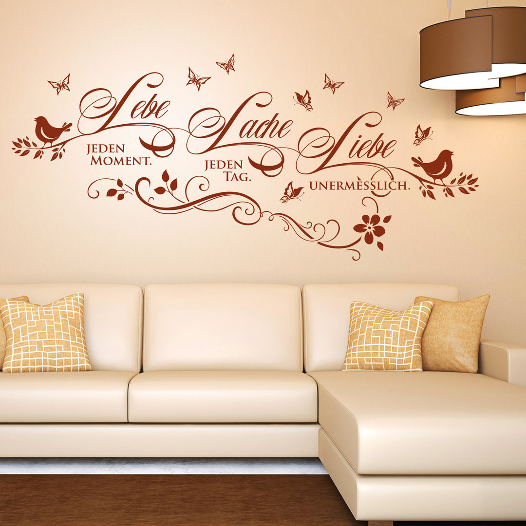 wandtattoo lebe lache liebe deko idee spruch f r. Black Bedroom Furniture Sets. Home Design Ideas