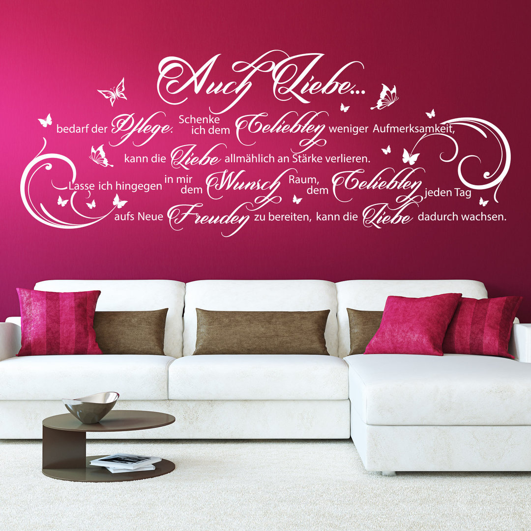 wandtattoo auch liebe bedarf der pflege wand spruch f r. Black Bedroom Furniture Sets. Home Design Ideas