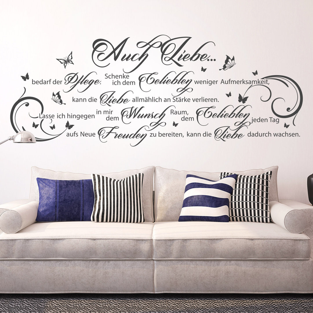 wandtattoo auch liebe bedarf der pflege wand spruch f r. Black Bedroom Furniture Sets. Home Design Ideas
