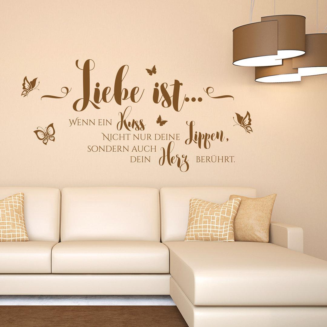wandtattoo liebe ist wenn ein kuss wand bild f r. Black Bedroom Furniture Sets. Home Design Ideas