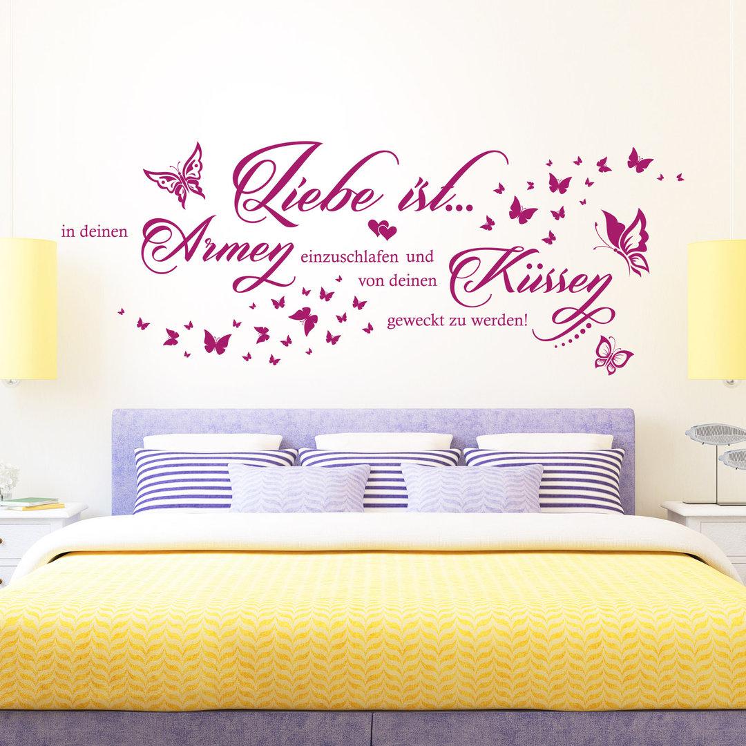 wandtattoo liebe ist in deinen armen einzuschlafen paar. Black Bedroom Furniture Sets. Home Design Ideas