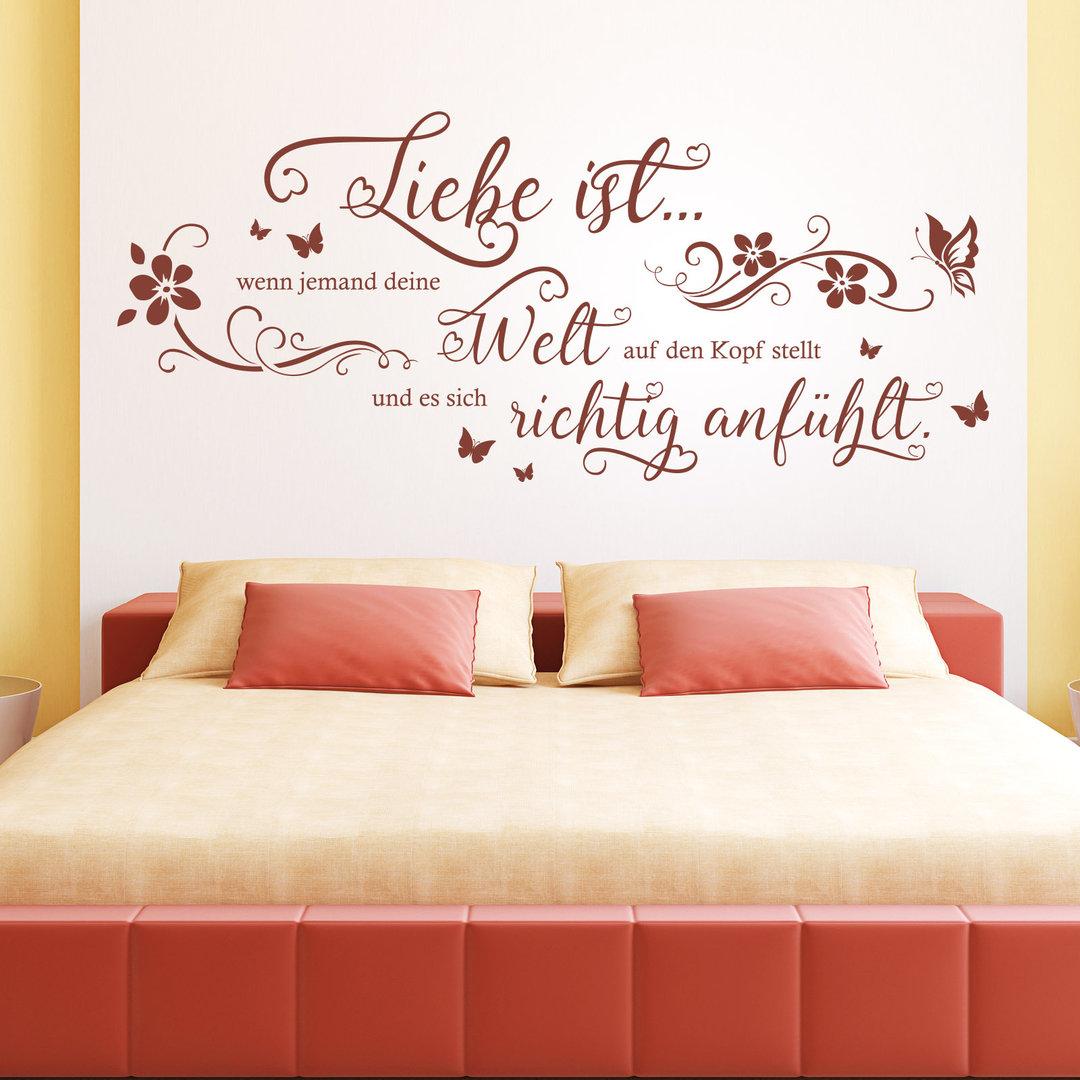 wandtattoo liebe ist wenn jemand deine welt wand bild spruch. Black Bedroom Furniture Sets. Home Design Ideas