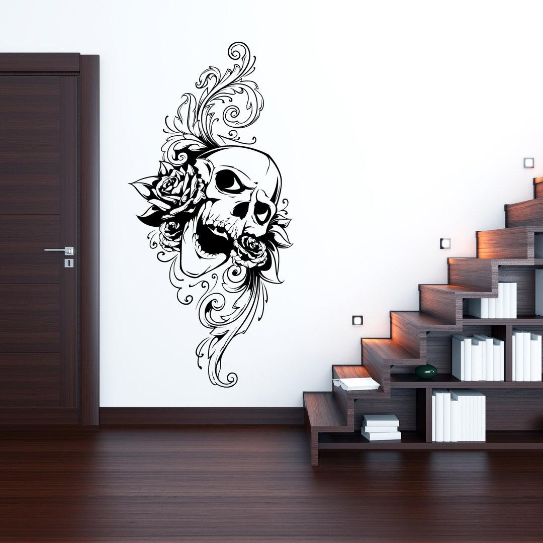wandtattoo totenkopf m blumen cooles vintage motiv. Black Bedroom Furniture Sets. Home Design Ideas
