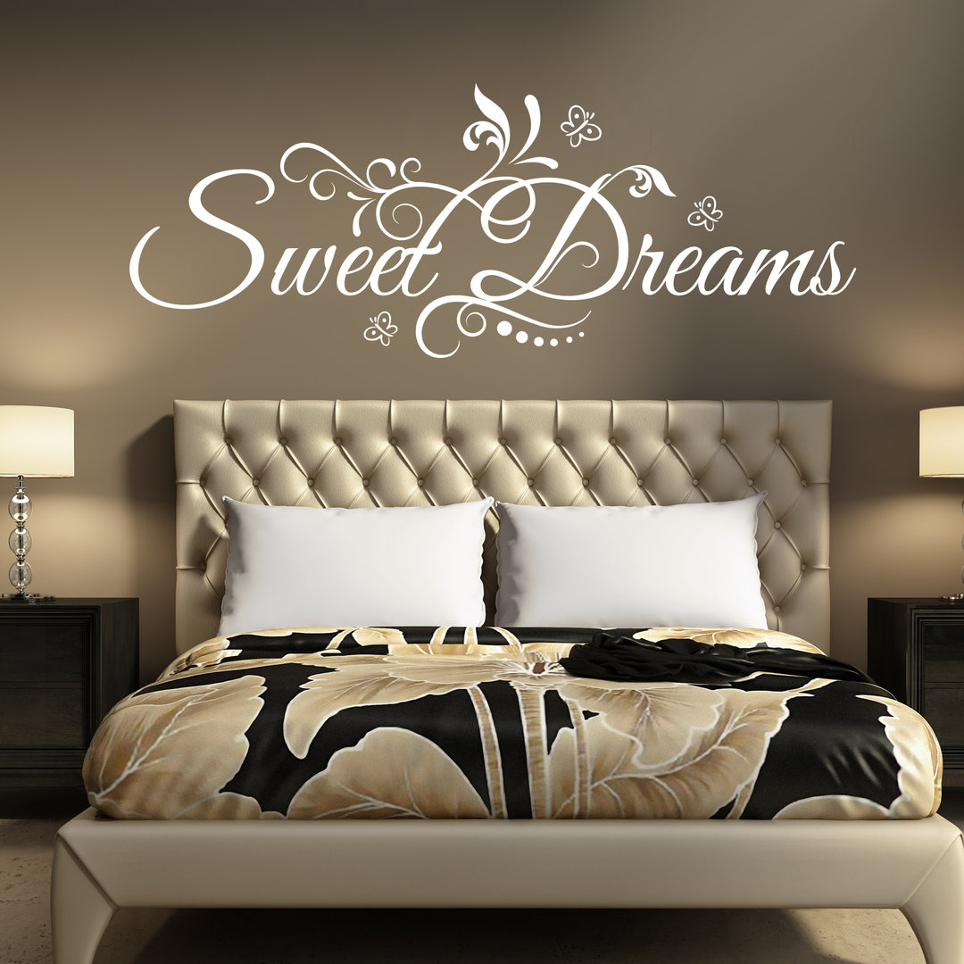 wandtattoo sweet dreams sch ne s e tr ume floral blumen design. Black Bedroom Furniture Sets. Home Design Ideas