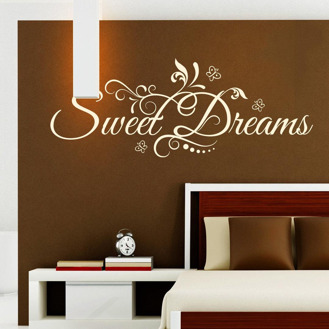 wandtattoo sweet dreams sch ne s e tr ume floral blumen design. Black Bedroom Furniture Sets. Home Design Ideas