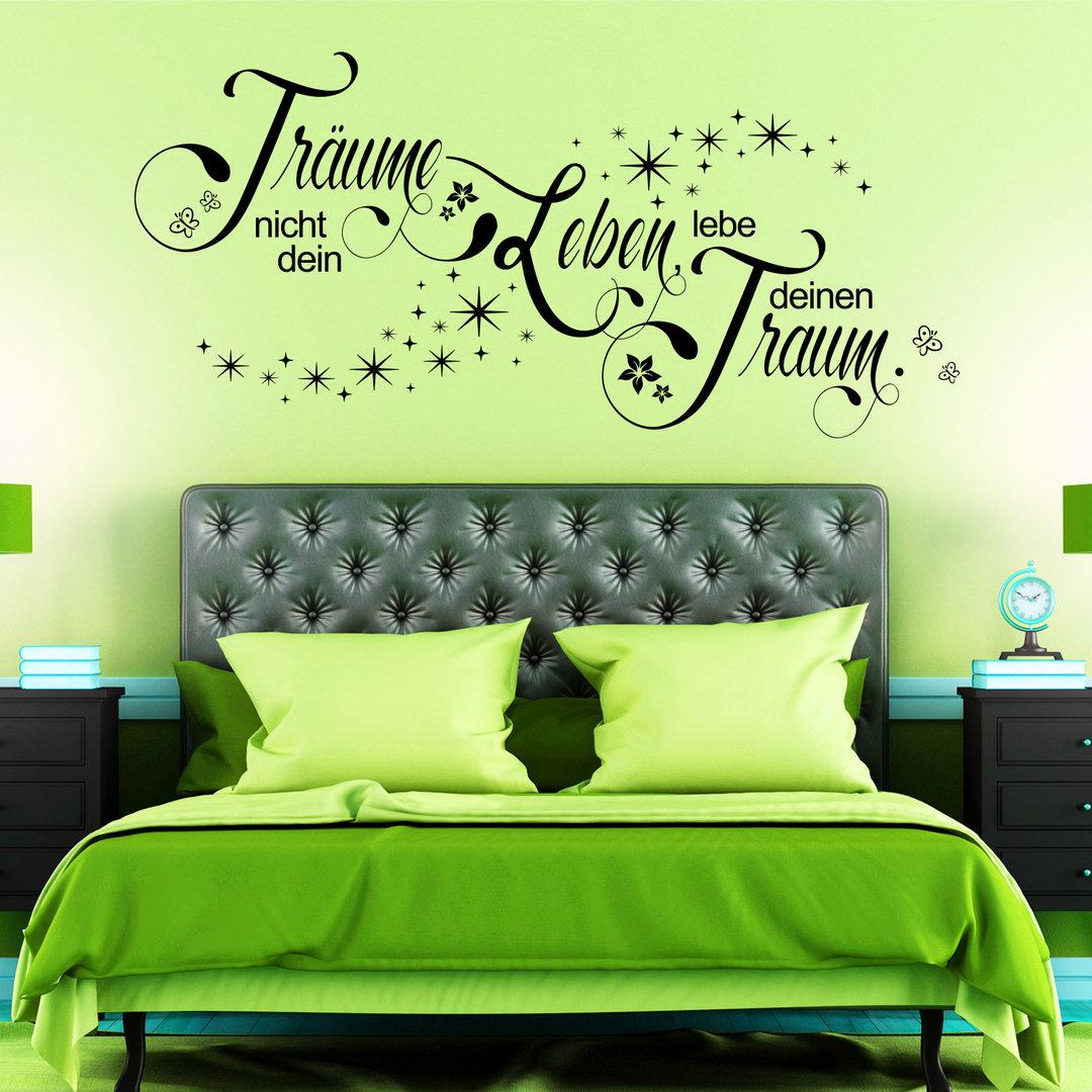 wandtattoo tr ume nicht dein leben lebe deinen traum spruch. Black Bedroom Furniture Sets. Home Design Ideas