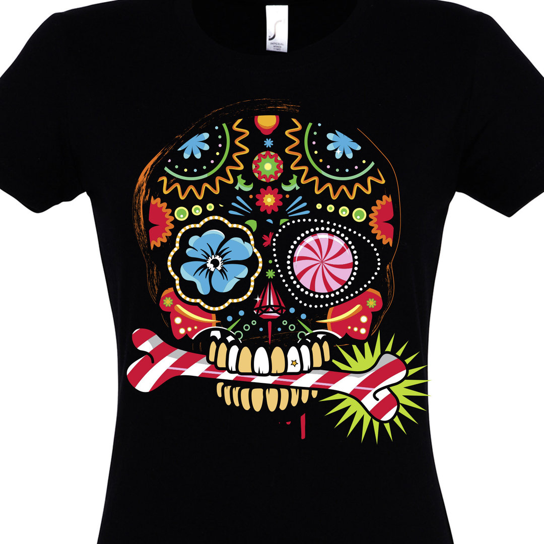 t shirt bunter totenkopf im comic stil mit blumen. Black Bedroom Furniture Sets. Home Design Ideas