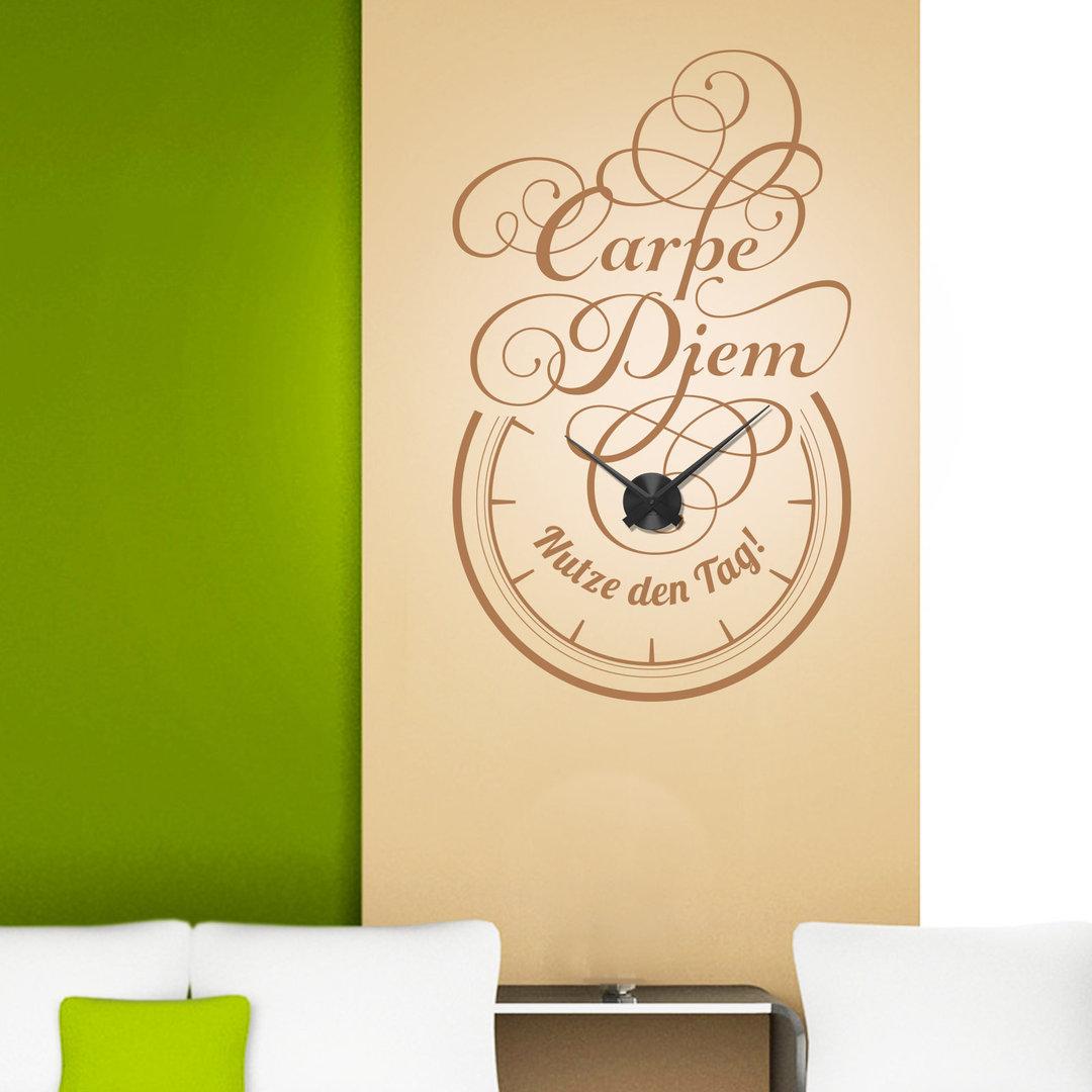 wandtattoo uhr carpe diem wanduhr mit verschn rkeltem spruch. Black Bedroom Furniture Sets. Home Design Ideas