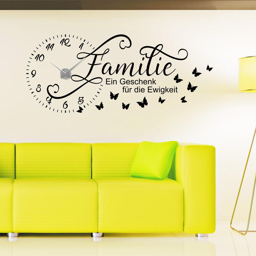 wandtattoo uhr familie ein geschenk f r die ewigkeit wanduhr. Black Bedroom Furniture Sets. Home Design Ideas