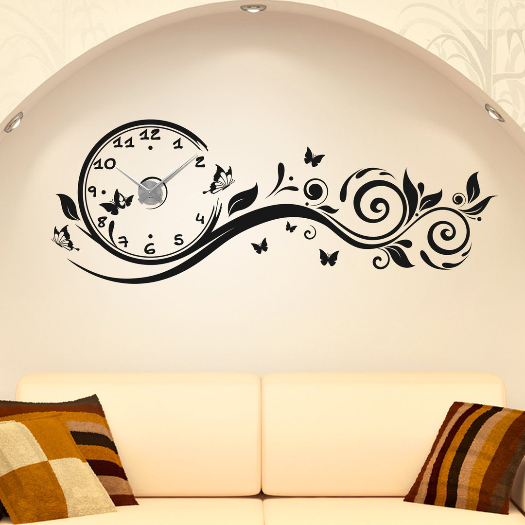 wandtattoo uhr blumen ranke schmetterlinge floral wanduhr. Black Bedroom Furniture Sets. Home Design Ideas