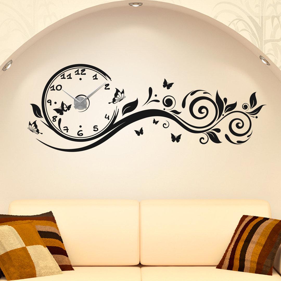 wandtattoo uhr blumen ranke schmetterlinge floral wanduhr. Black Bedroom Furniture Sets. Home Design Ideas