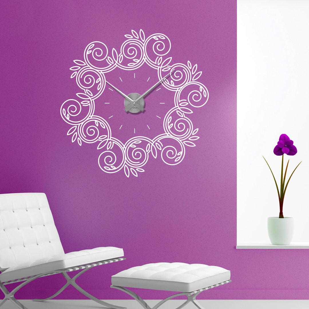 wandtattoo uhr blumen ornament floral wanduhr. Black Bedroom Furniture Sets. Home Design Ideas