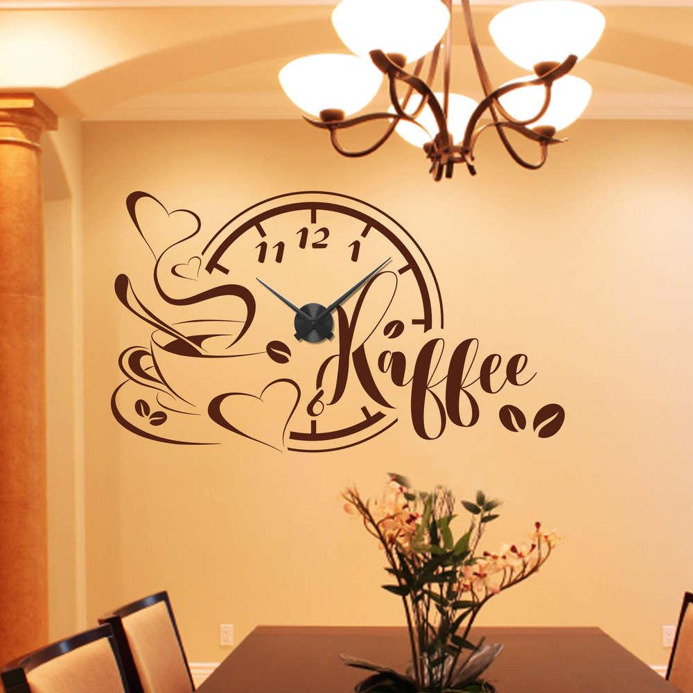 Wandtattoo-Uhr Kaffee mit Tasse und Bohnen. Wanduhr für die Küche