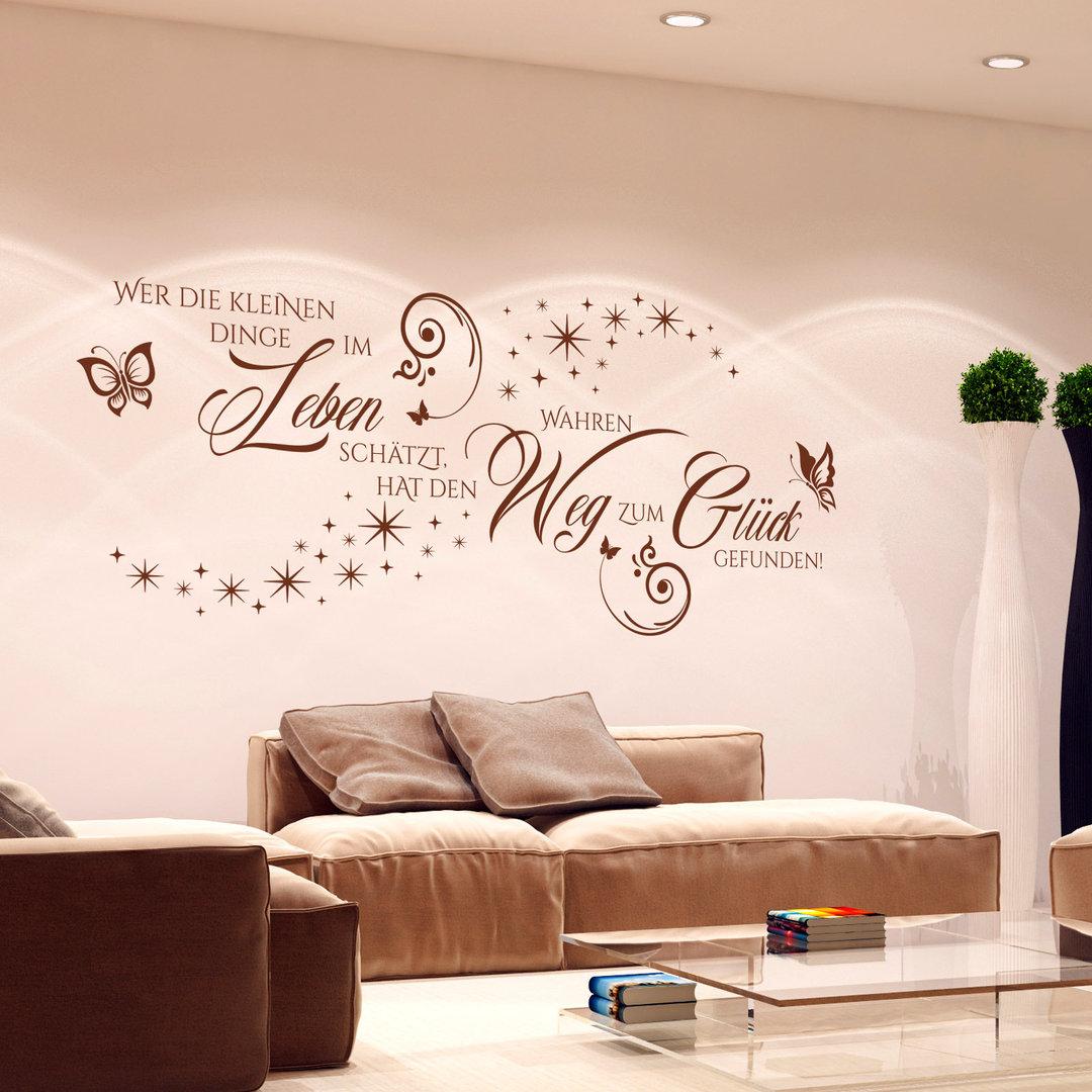 wandtattoo wer die kleinen dinge im leben sch tzt gl ck spruch. Black Bedroom Furniture Sets. Home Design Ideas