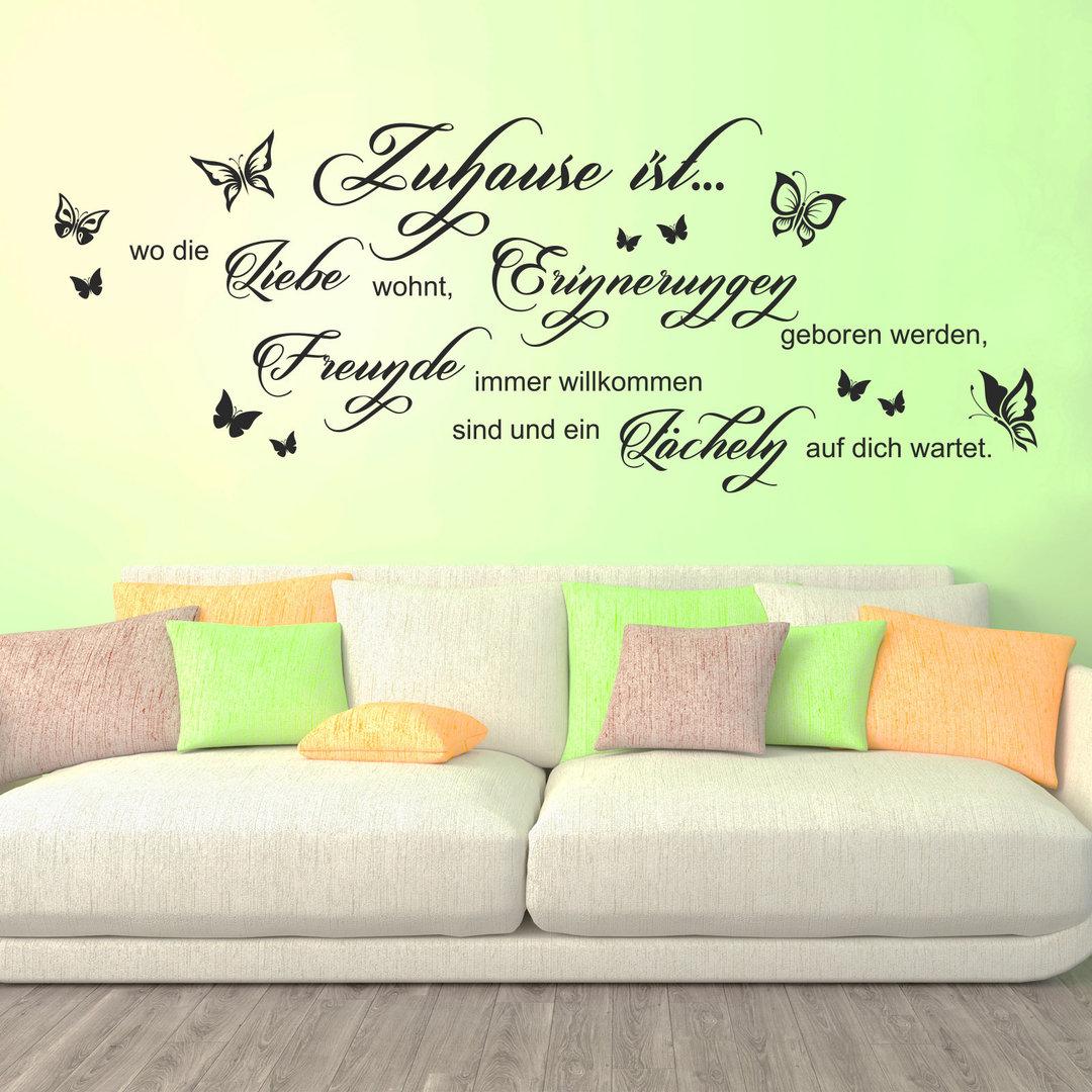 wandtattoo zuhause ist wo die liebe wohnt erinnerungen spruch. Black Bedroom Furniture Sets. Home Design Ideas