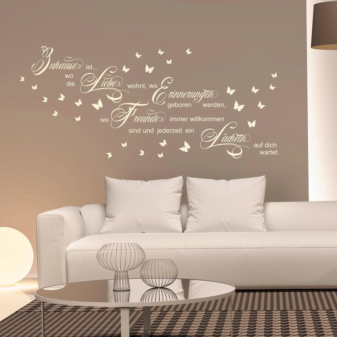 wandtattoo zuhause ist wo die liebe wohnt spruch wand bild. Black Bedroom Furniture Sets. Home Design Ideas