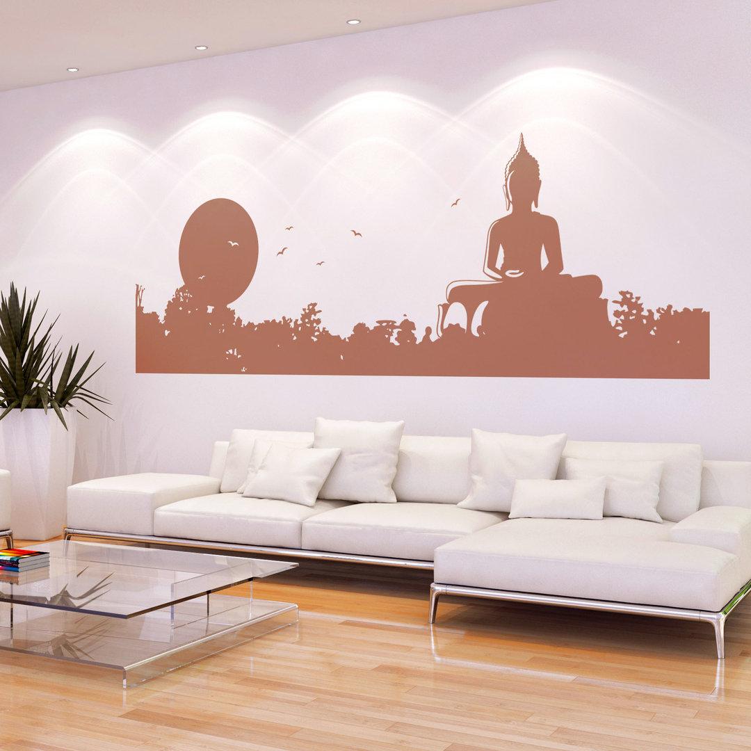 wandtattoo buddha mit sonnenaufgang chinesische deko wohnzimmer. Black Bedroom Furniture Sets. Home Design Ideas