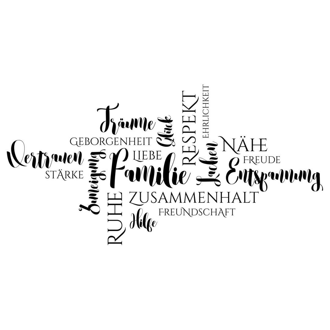 Wandtattoo Wortwolke Familie   Wörter und Begriffe mit Familie