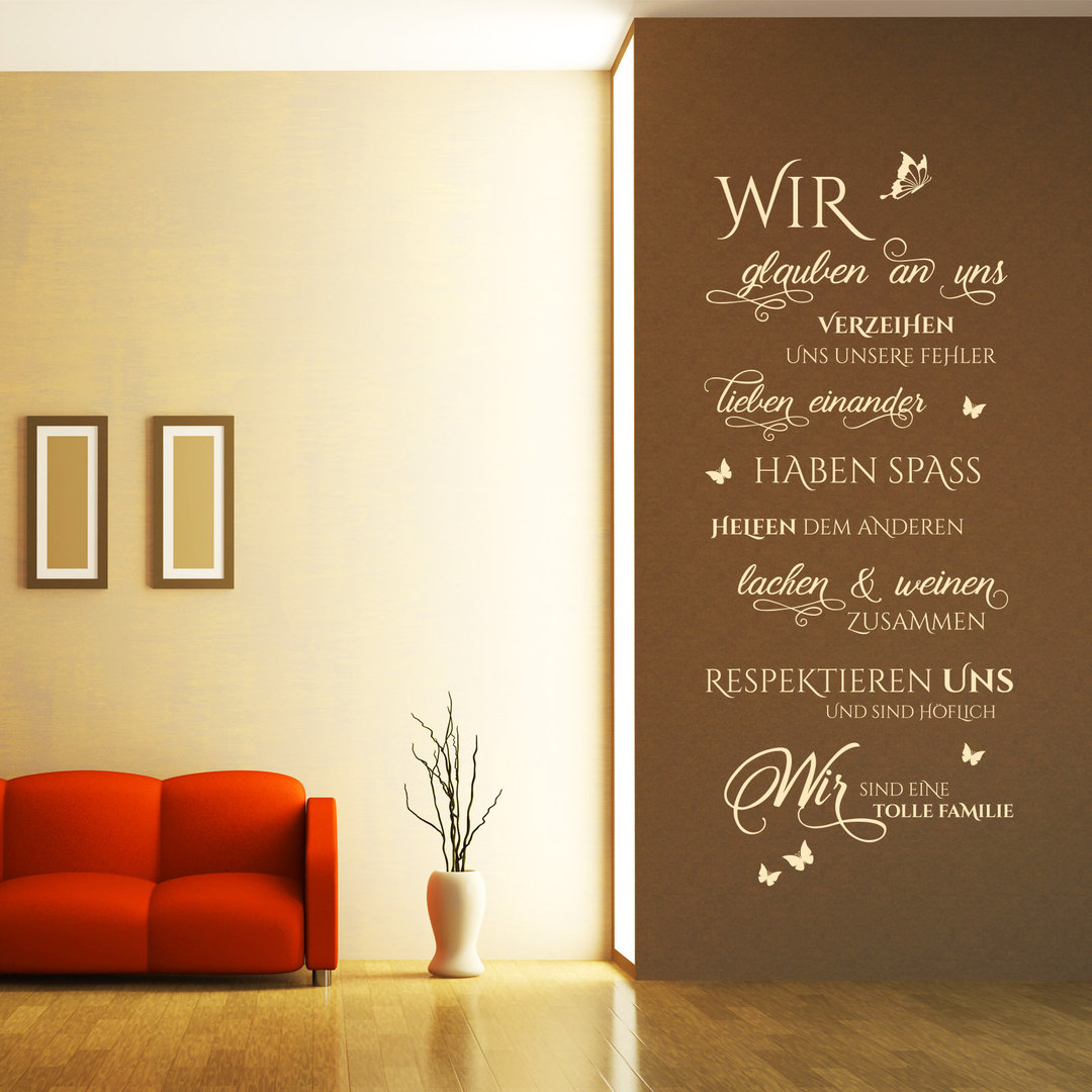wandtattoo wir sind eine tolle familie spruch im hochformat. Black Bedroom Furniture Sets. Home Design Ideas