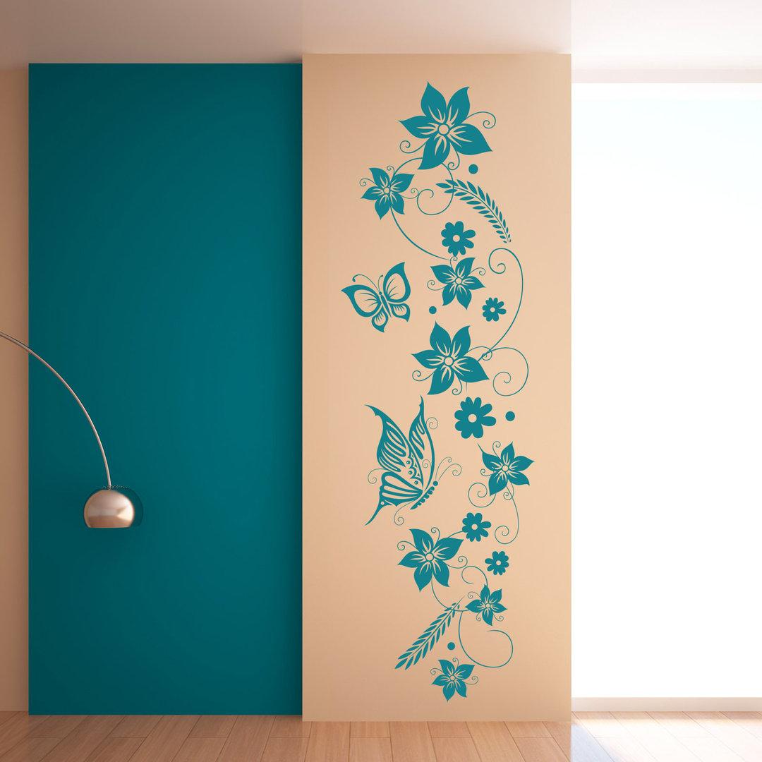Wandtattoo blumen ranke wandbild im hochformat f r flur diele - Wandbild hochformat ...