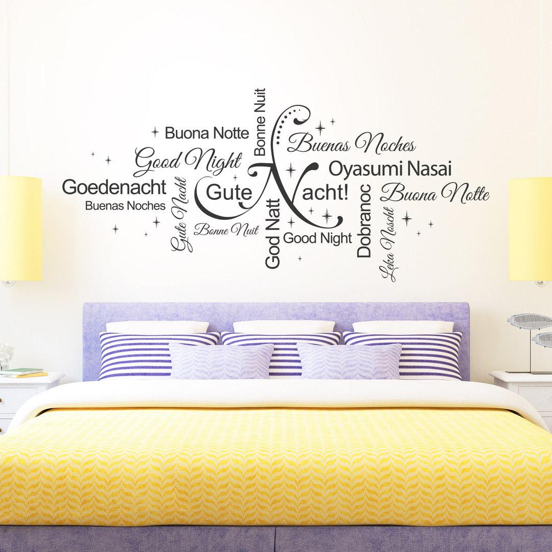 Wandtattoo Gute Nacht Wortwolke, Sprachen & Wörter. Schlafzimmer