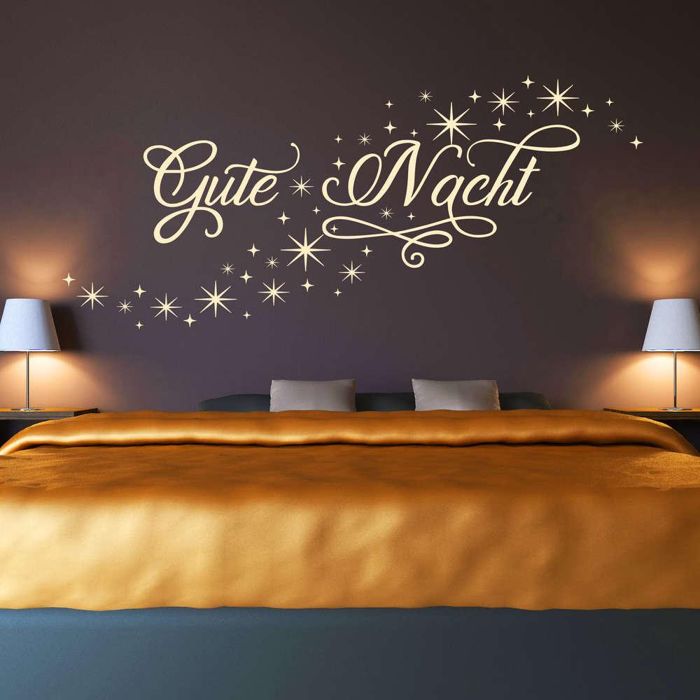 Wandtattoo Gute Nacht Sternenhimmel | Sternschnuppe Schlafzimmer