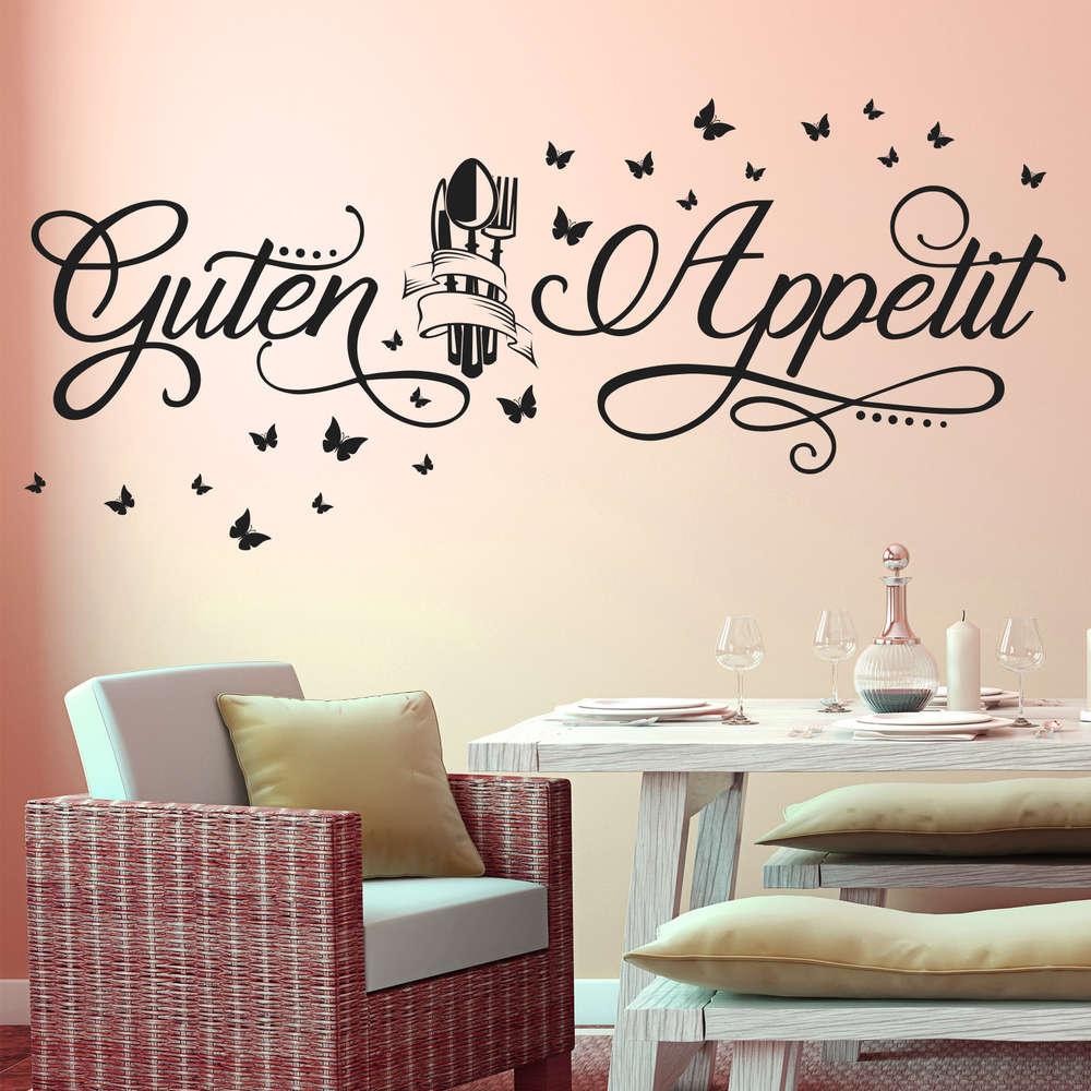 Wandtattoo Guten Appetit mit Schmetterlingen. Deko Küche, Essen